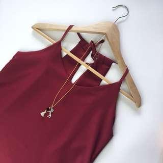 Burgundy V-neck Cami Top