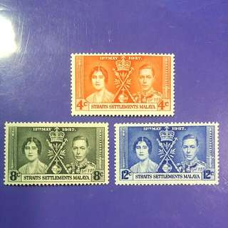 1937 Straits Settlements Malaya Coronation KGVI QE Mint Stamp Set