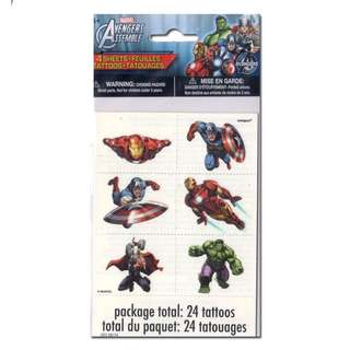 💥 Superheroes Avengers party supplies - tattoos / party gifts