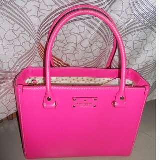 Kate Spade Wellesley Quinn Genuine Leather Tote Handbag (Pink)