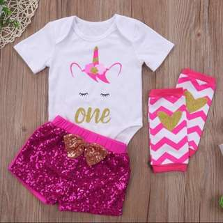 Baby Girl Set Pink Unicorn Clothes Birthday Party Sequin Romper Gift Present