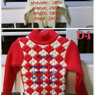 Winter wear/ sweater (girl, size 90 and 100)