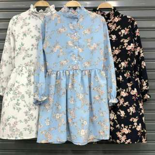 Floral Long sleeves Babydoll Dress