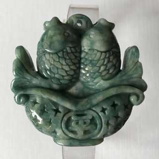 CLEARANCE SALES {Collectibles Item - Jade / Jadeite} Gorgeous Beautiful Grade A 天然翡翠 Natural Jadeite Dark Greenish Double Side Carving With Both Side Pair Of Fish & One Side '平' One Side '安'