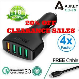 AUKEY 4 PORT CAR CHARGER CC-T9 QC3.0