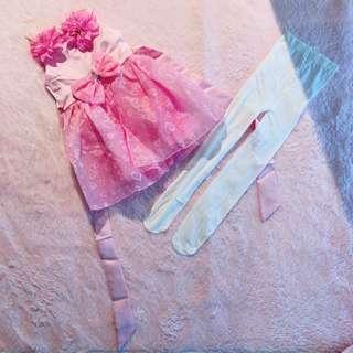 Princess Bow & Floral Dress x Legging Set $20