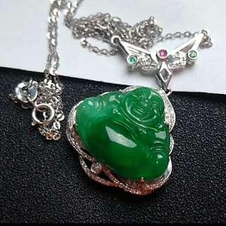 🏵️18K White Gold - Grade A Spicy Green Wealth/Laughing Buddha Jadeite Jade Pendant🎍