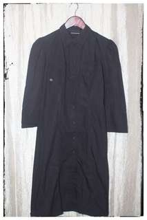 DKNY Black Long Casual Button-down Dress Size M