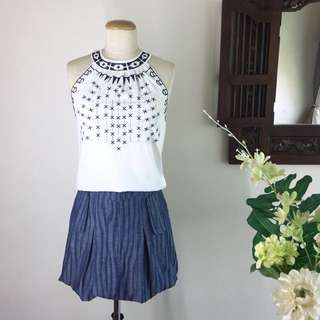 Cut-in Embroidered Top