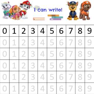 Paw Patrol: English name, Chinese name, Number, ABC alphabet writing worksheets