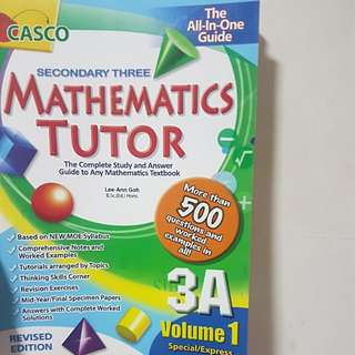 More than 50% off!! Sec 3A Volume 1 Emaths casco tutor book!
