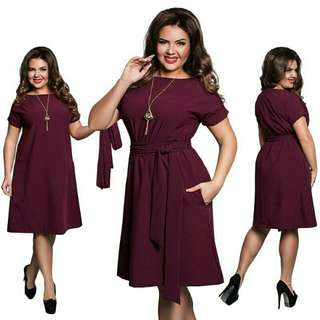 Casual Dress with Belt Plus Size