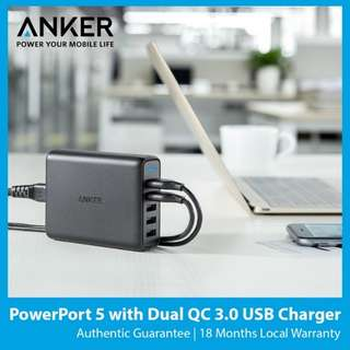 Anker PowerPort 5 With Dual port QC3.0 With SG Plug
