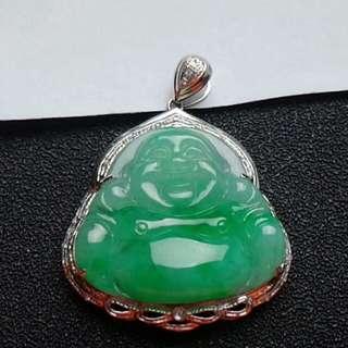 🏵️18K White Gold - Grade A 冰糯 Green Laughing/Wealth Buddha Jadeite Jade Pendant🏵️