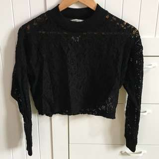 Pull & Bear Crop Top Lace Black