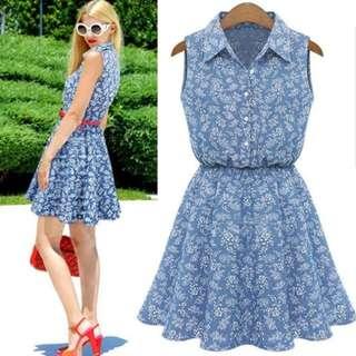 [PO] Euro Floral Denim Dress (15)