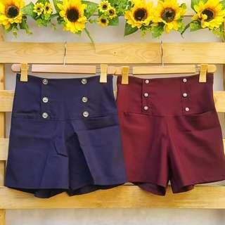 6 Button High Waist Shorts