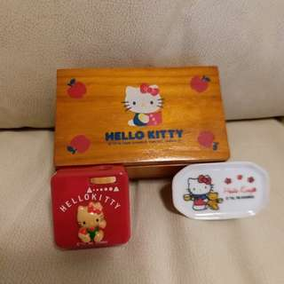 Hello Kitty 木盒,90年代鉛筆刨,細玻璃碟