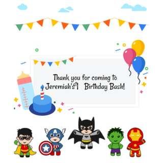 Avengers Marvel Superheroes: Customised Goodie Bag Design for Birthdays