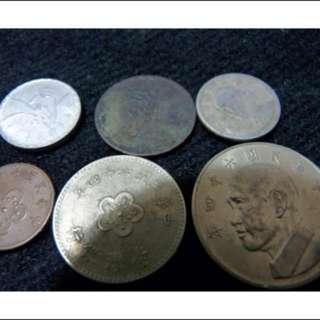 珍稀貨幣系列 六枚一組 含舊台幣 一角,  2/1元(新五角) 以及極罕見舊五角,特大號五元, 壹圓    六個一套