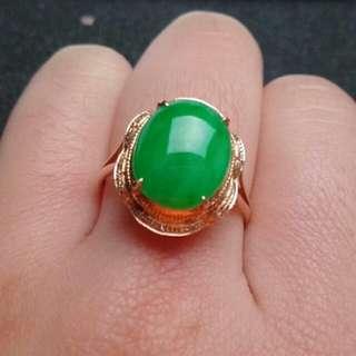 🎇18K Gold - Grade A 冰糯 Green Oval Cabochon Jadeite Jade Ring🍀