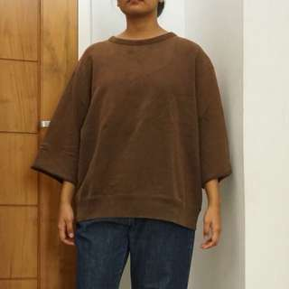 UNIQLO brown Oversized Cropped Sweater