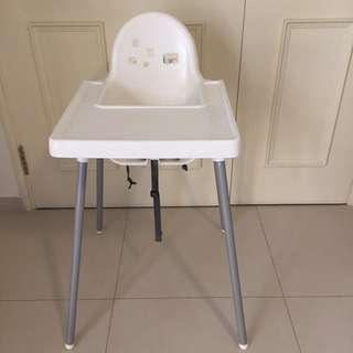 Ikea white baby high chair with table and seatbelt