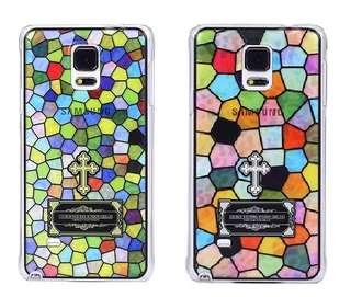 Samsung 三星 Galaxy note 4 小格碎花 彩雕工藝 超薄 手機殼 手機套  特價$85 * 最後一件
