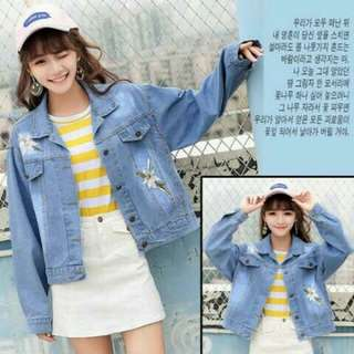 03 - Jaket Lili bordir  jeans washed plus bordir bunga fit to XXL