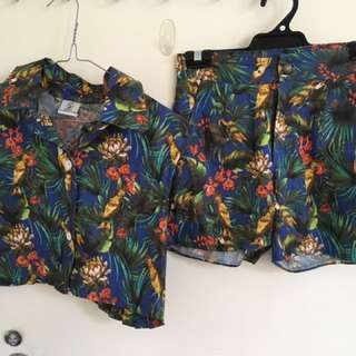 Two Piece Crop Top/ Shorts Jungle Pattern
