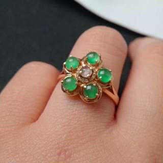 🍀18K Gold - Grade A Icy Green Cabochons Jadeite Jade Floral Ring🎍