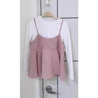 兩件式粉色綁帶上衣