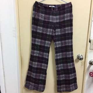 紫色格紋寬褲