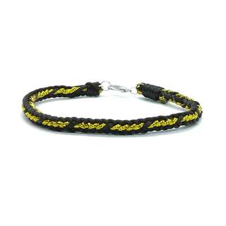 Handmade Chinese Black Satin Cord Gold String Knot Perfect (十全十美) Rope Lucky Fortune Bracelet