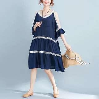 women's summer Korean version of the large size short-sleeved skirt loose strapless shoulder strap dress