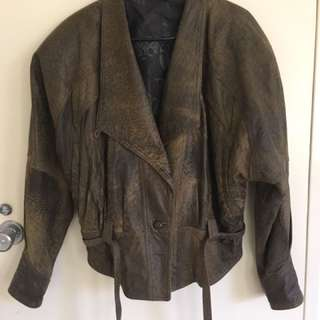 Retro Levy Leather Jacket Size 14