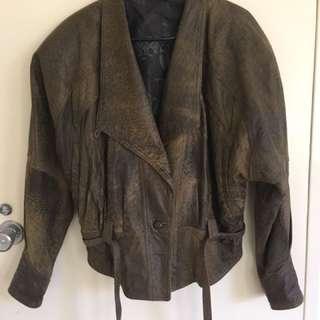Retro Levy Leather Jacket Size 14