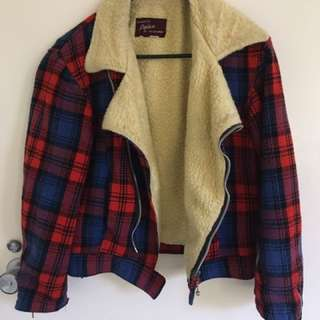 Retro Plaid, Wool Jacket Size 8/10