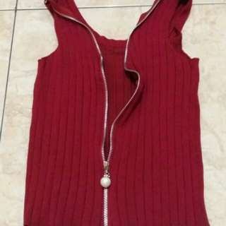 Red zipper Knit Top