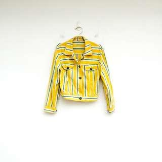 二手 MOSCHINO 黃色 條紋 外套 酷炫帥 明太子 0222