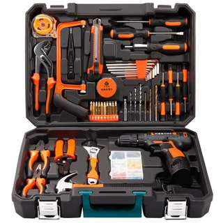 Professional Household Tools Set with Wireless 12v Lithium Drill