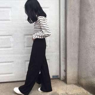 黑色高腰落地寬褲薄款