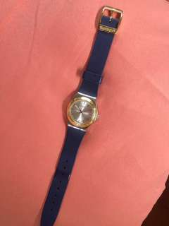 Gold & Navy Blue Swatch Watch