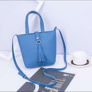 Light Blue Tassel Sling Bag
