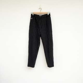 二手 黑色 毛料 條紋 高腰 長褲 明太子 0222