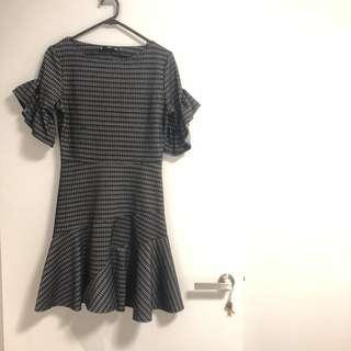 MANGO Puff Sleeve Checker Dress (Size S)