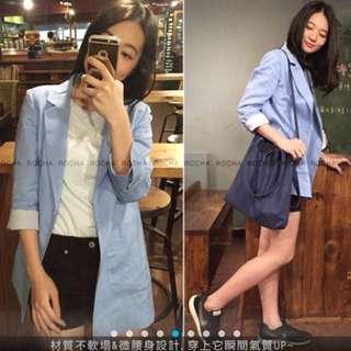 春裝🌹藍色氣質百搭西裝外套
