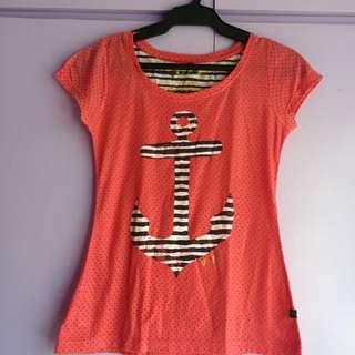 Redgirl Anchor Salmon Pink Shirt