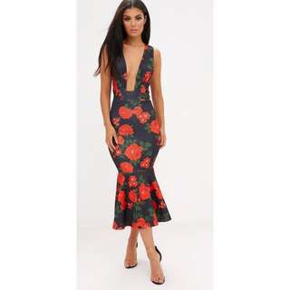 Plunge floral fishtail gown dress