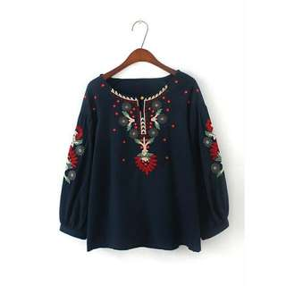 20HQ55J0 Embroidered Tunic Blouse (BLUE)